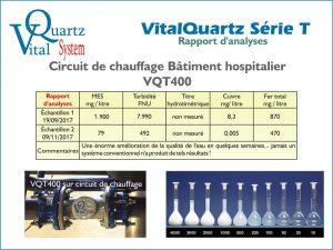 Rapport d'analyse des appareils VitalQuartz VQT400 en circuit de chauffage bâtiment hospitalier.