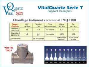 Rapport d'analyse des appareils VitalQuartz VQT100 pour chauffage bâtiment communal.