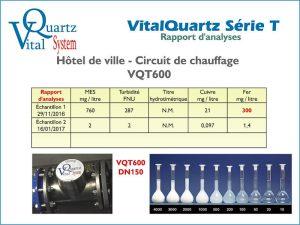 Rapport d'analyse des appareils VitalQuartz VQT600 en circuit de chauffage hôtel de ville.