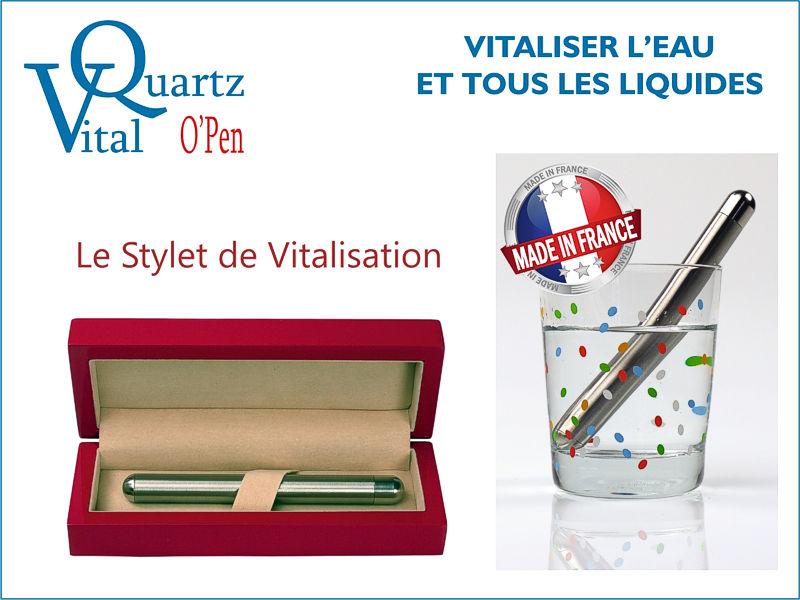 Le stylet VitalQuarttz O'Pen vitalisant l'eau et tous les liquides.